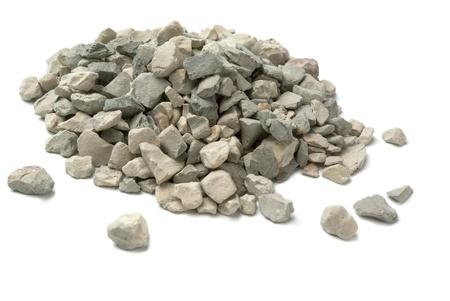 Bleke van verpletterde steen die op wit wordt geïsoleerd Stockfoto