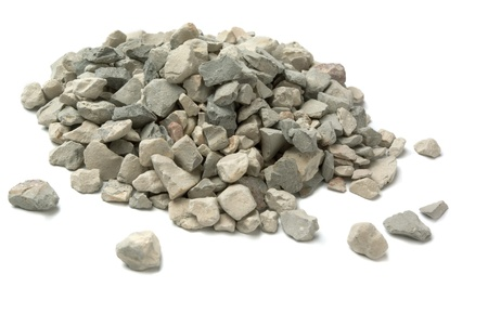 Pale of crushed stone isolated on white