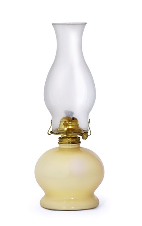 oil  lamp: Old swiss kerosene lamp isolated on white Stock Photo