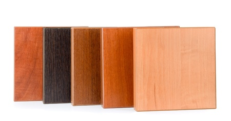color swatch: Row of samples of  stained wood for furniture isolated on white