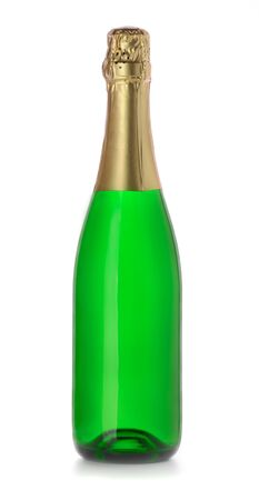Closed champagne bottle without lable isolated on white Stock Photo - 9746218
