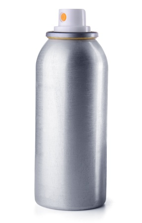 aerosol can: Aluminum spray can isolated on white background