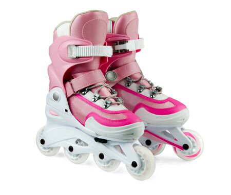 rollerskates: Pink inline rollerskates isolated on white