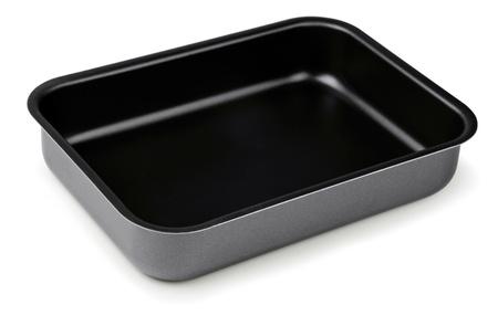 antiaderente: Nuovo rivestimento antiaderente nero tostatura pan isolata on white