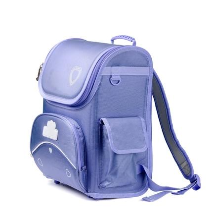 Blauwe school rugzak op wit wordt geïsoleerd