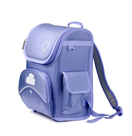 school bag: Blue school backpack isolated on white Stock Photo