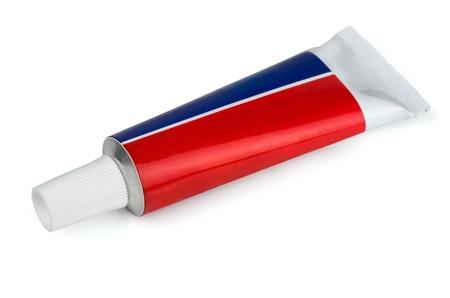 red tube: Tubo cerrado de pomada médica aislado en blanco