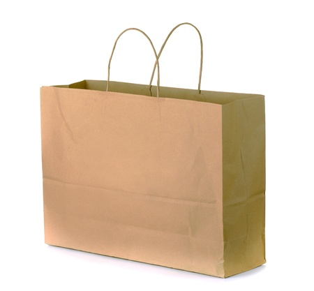 Brown paper shopping bag isolated on white Stock Photo - 10380958