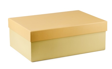shoes fashion: Closed cardboard shoe box isolated on white