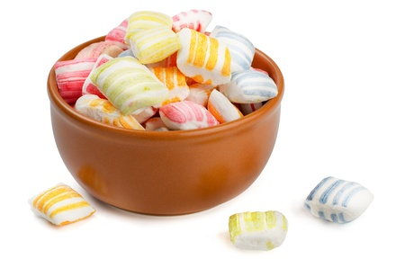 turkish delight: Parvarda - traditional oriental sweets made of sugar in a ceramic bowl Stock Photo