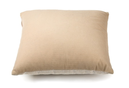 throw cushion: Beige pillow isolated on white