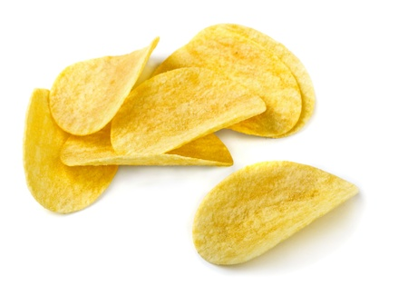 chips: Small pile of potato chips on white background Stock Photo