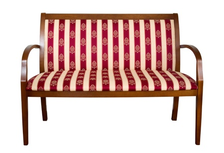 padded: Classic wooden padded couch isolated on white