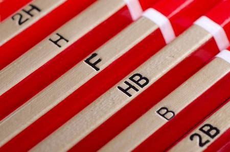 hardness: Row of graphite pencils various  hardness