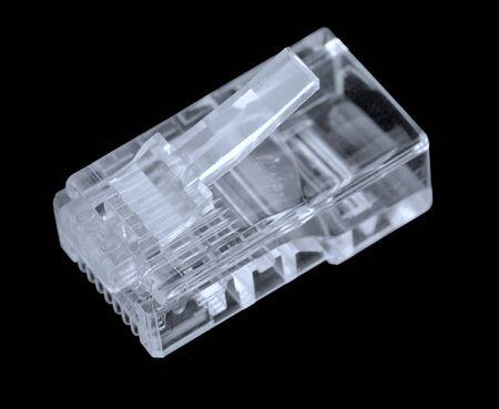 Transparent network plug isolated on black background Stock Photo - 10755904