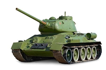 cisterne: T-34 carro medio sovietico durante la Seconda Guerra Mondiale isolato su sfondo bianco