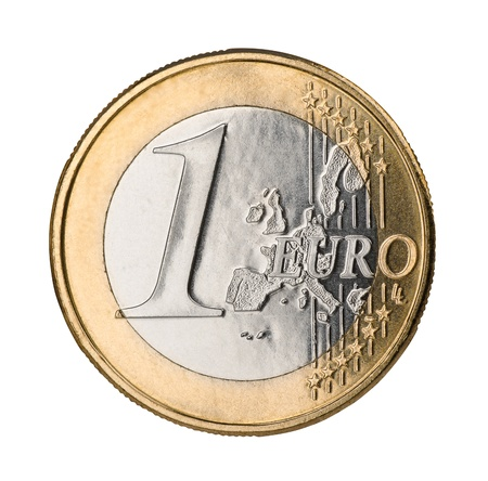 coin silver: One euro coin isolated on white