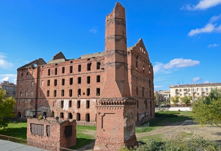 industrial ruins:  Mill destroyed during ww2 - part of museum Stalingrad fight. Volgograd, Russia.