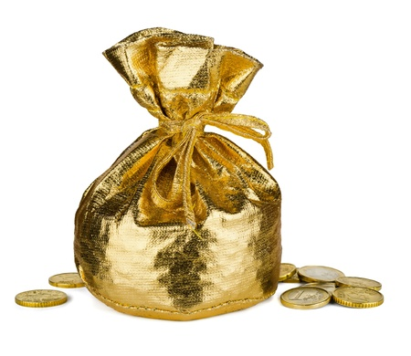 Golden  sack and some money isolated on white Stock Photo - 11257675