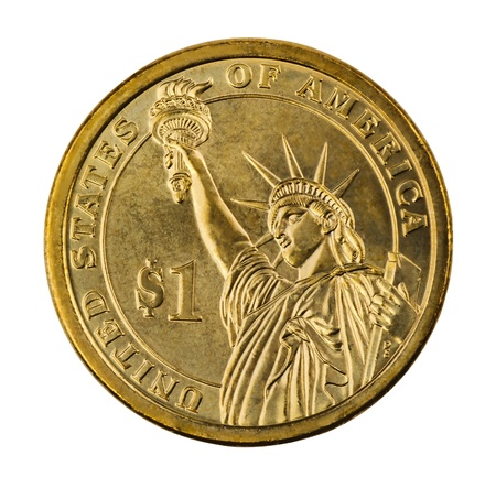 Golden one dollar coin isolated on white photo