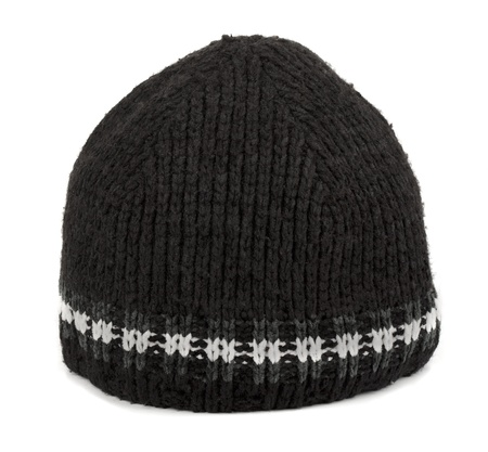 stocking cap: Black winter  tuque isolated on white