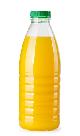 Plastic bottle of orange juice isolated on white photo