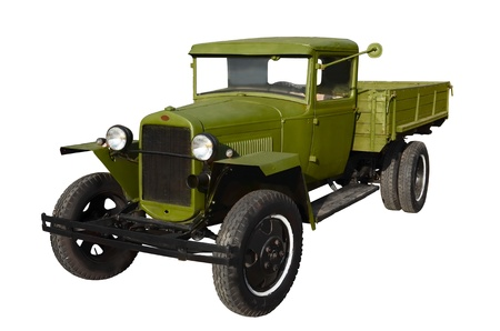 old truck: Green truck early twentieth century isolated on white Stock Photo