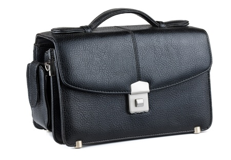 leather briefcase: Mens black leather handbag isolated on white
