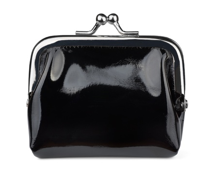 Black leather coin purse isolated on white photo