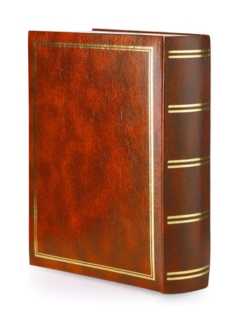 book binding: Brown leather book isolated on white