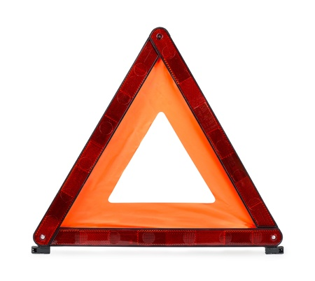 warning triangle: Red reflecting traffic warning triangle isolated on white