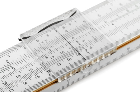 logarithm: Close-up of slide rule isolated on white