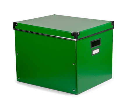 Green storage box isolated on white Stock Photo - 11858393