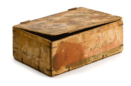 old container: Old wooden box isolated on white