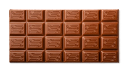 Milk chocolate bar top view isolated on white photo