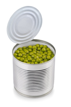 Canned green peas isolated on white photo