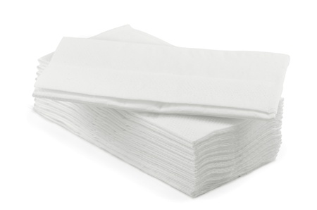 tissue paper: Stack of white l tissue paper  isolated on white Stock Photo