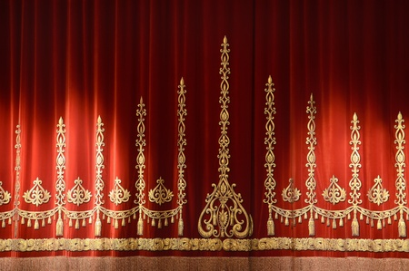 Red and gold stage theater curtain background photo