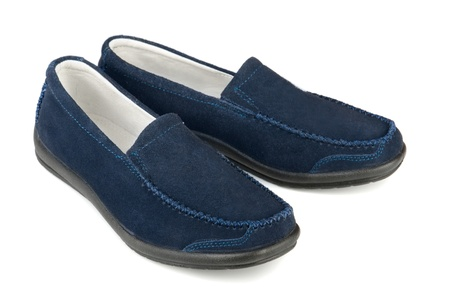loafer: Blue soft  suede casual loafer isolated on white Stock Photo