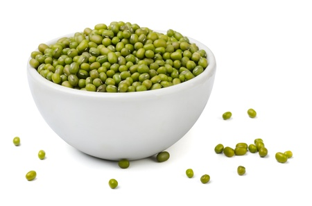 green bean: Green mung beans in white bowl isolated on white