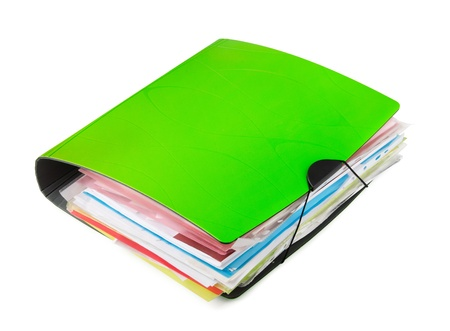 Green ring binder with documents isolated on white Stock Photo - 12811021
