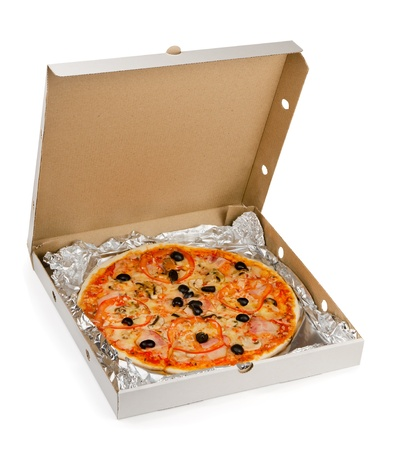 Pizza in take away box isolated on white photo