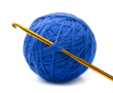 clew: Ball of blue yarn and crochet hook isolated on white