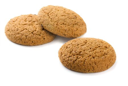 Three oatmeal cookies isolated on white Stock Photo - 12932452