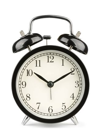 beat the clock: Black classic style alarm clock isolated on white