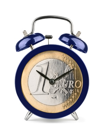 Blue alarm clock with euro clockface isolated on white photo