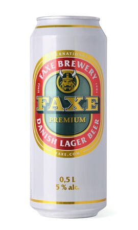Faxe Premium Brewery beer can isolated on white Stock Photo - 13627234