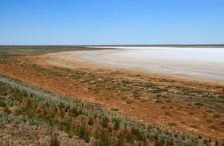 red soil: Big area of dry saline soil  in Kazakhstan