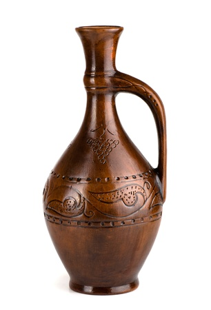 clay pot: Clay wine jug isolated on white