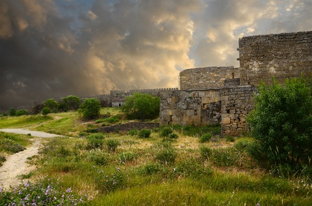 travel features: Wall of old fortress in Derbent Stock Photo